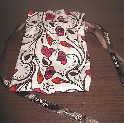 Brighton Multi-Colored Flower Beige, Red, Brown Jewelry Bag Pouch Nice! #K29