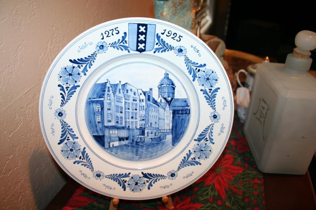 Unique Antique Gouda Pottery Cabinet Plate Depicting Historical Amsterdam Scenes