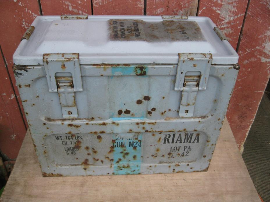 Large Vintage AMMO BOX CHEST metal large dated 6/49