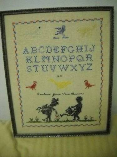 Antique 1930 Framed Sampler Motif Alphabet Rabbit Chicken Cross Stitch Signed