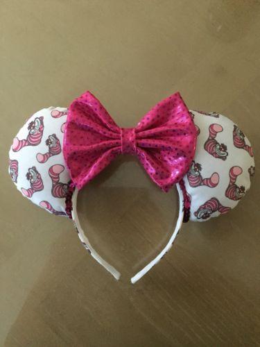 Disney Cheshire Cat Minnie Ears Handmade Pink, White Headband