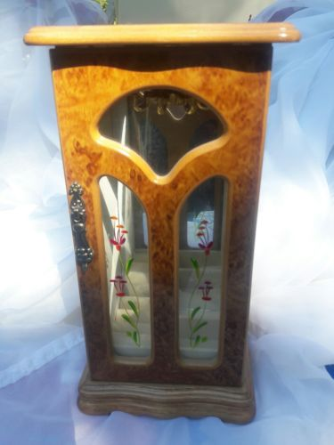 Wooden, Glass Front Jewelry Box