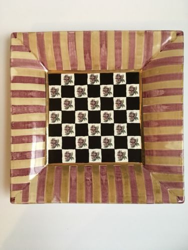 "Mackenzie Child's Torquay Frank & Mustard  RARE  Large 12"" Ceramic Square Plate"
