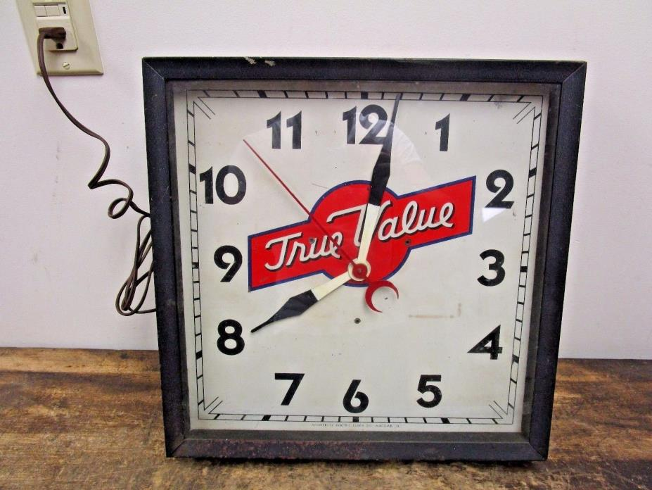 VINTAGE True Value Hardware Store Advertising Clock Middlebury Electric WORKS!