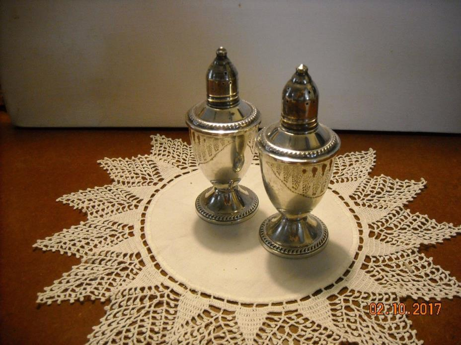 Vintage Pair  Weighted Sterling Silver Salt & Pepper/Glass Liner Shakers Duchin