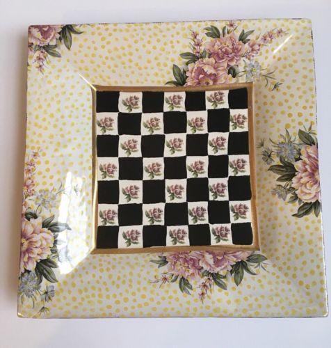"Mackenzie Child's Torquay Buttercup Kelp & Urchin RARE Large 12"" Square Plate"