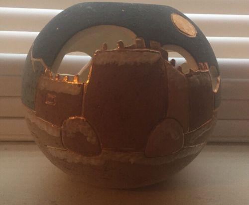 Vera Russell Signed Southwestern Ceramic Vase 22KT Trim Gorgeous Design.