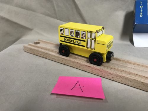 Mister Rogers Yellow School Bus A Compatible w Thomas Brio Wooden Trains Mr.