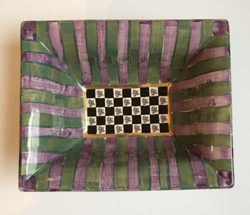 "Mackenzie Child's Torquay Kelp & Urchin RARE Ceramic Bowl 9 1/2""x 7 1/2""x3 1/2"""