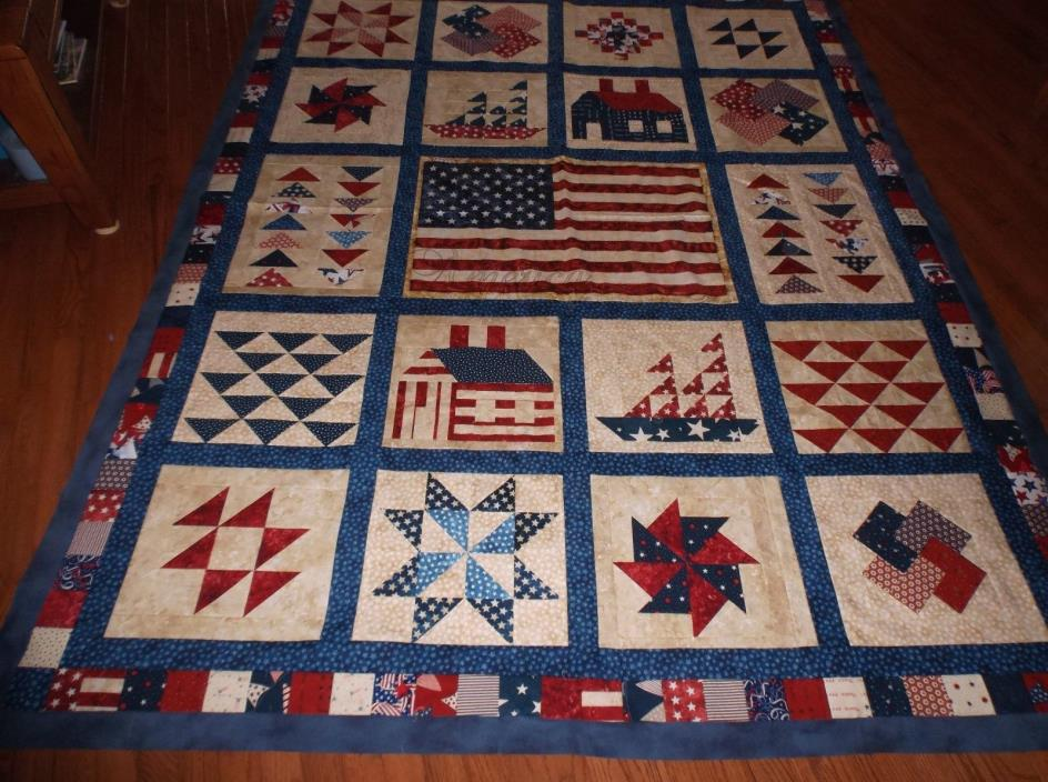 Quilt Top - Red, White, Blue - Twin Size