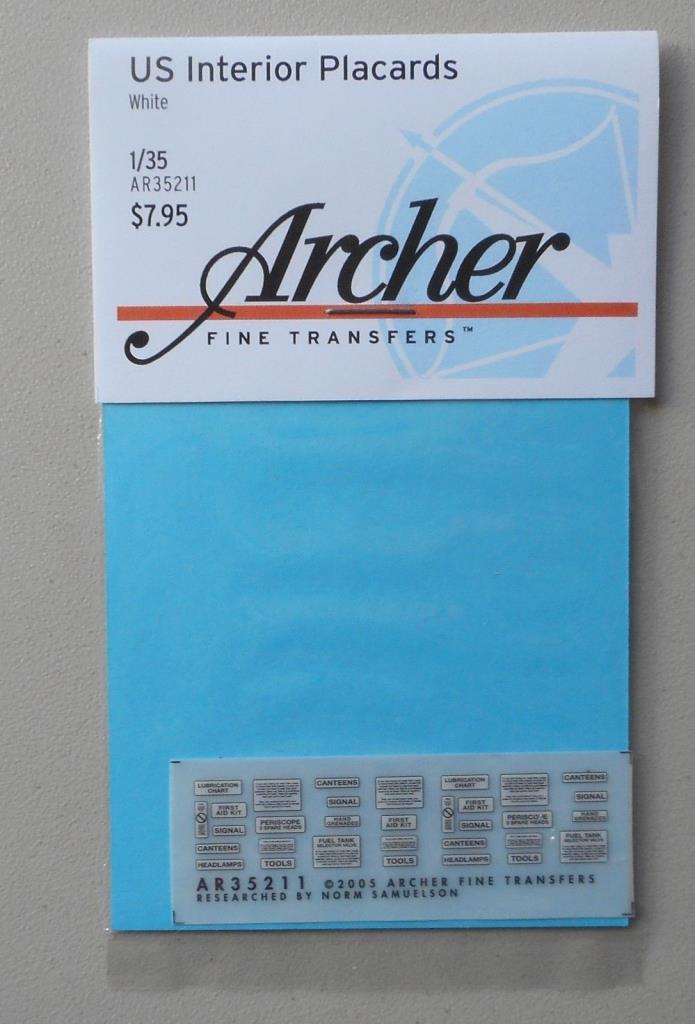 US INTERIOR PLACARDS 1:35 ARCHER TRANSFERS MODEL ACCESSORY 35211