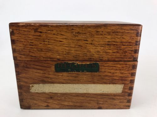 Antique  Dovetailed Oak Wooden Recipe Box w/RECIPES BOX BY IMPERIAL METHODS CO.