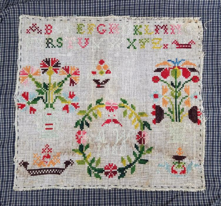 Antique Sampler Cross Stitch Alphabet Vintage Edwardian Finished 10