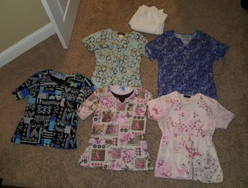 Huge lot of 5 women's scrubs tops shirts size XS S nursing Dental medical bottom