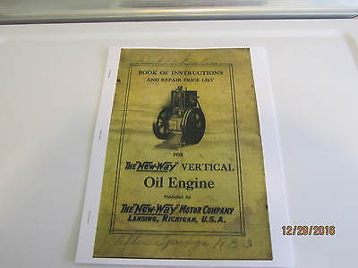 New Way Hit and Miss Verticle kerosene Engine Color Catalog  Reprint make break