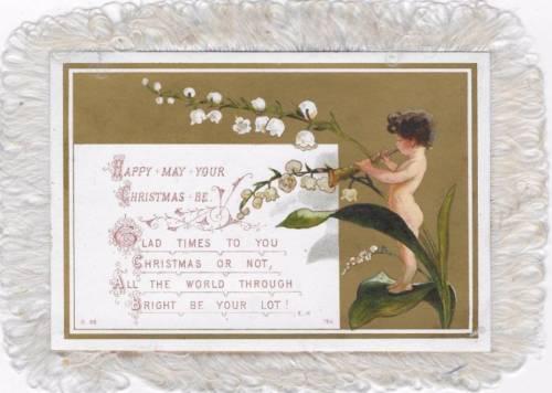 OBPACHER ANTIQUE SILK FRINGE CARD VICTORIAN CHERUB, SWEET PEAS, CHRISTMAS c1880s