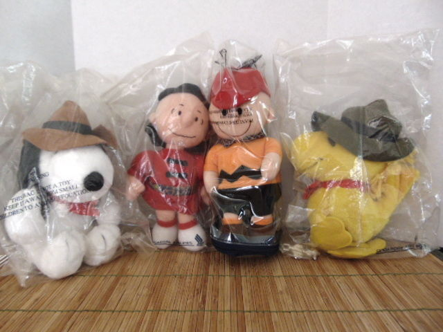 Singapore Airlines-Charlie Brown, Lucy, Snoopy, Woodstock Plush Retirted