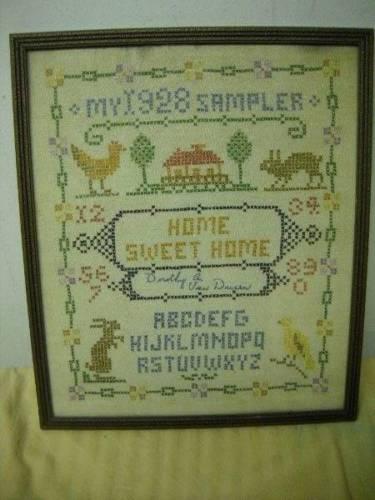 Antique 1928 Framed Sampler Motif Alphabet Rabbit Chicken Cross Stitch Signed