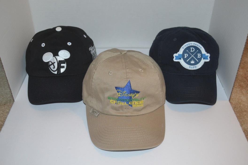 Lot of 3 Different Walt Disney World Hat Caps Adjustable Cotton/Polyester