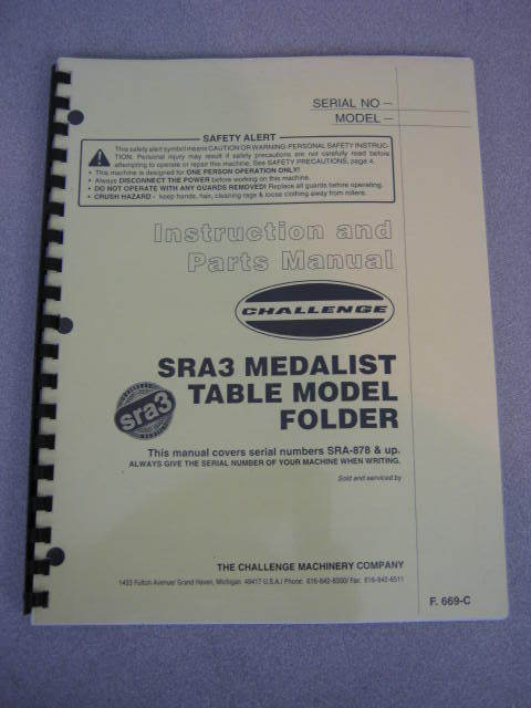 Challenge SRA3 Medalist Table Model Folder Manual