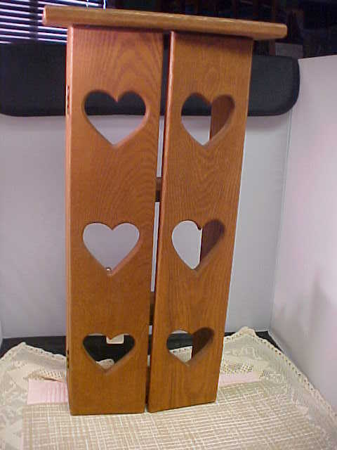 Wooden Wall Cabinet With Hearts has 3 Shelves 4 Hooks Knick Knack Holder Used