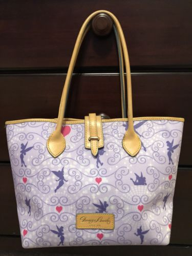 Disney Dooney And Bourke 2012 Purple Tinkerbell Medium Cindy Tote