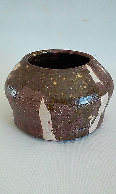 Nice Vintage Hand Crafted Folk Art Pottery Brush Pot Bowl Vase Signed H. Ridgley