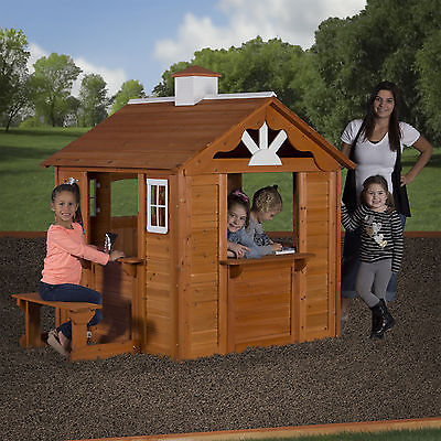 Playhouse For Boys Kids Outdoor Wooden Backyard Garden Toy Childs Fort Cottage