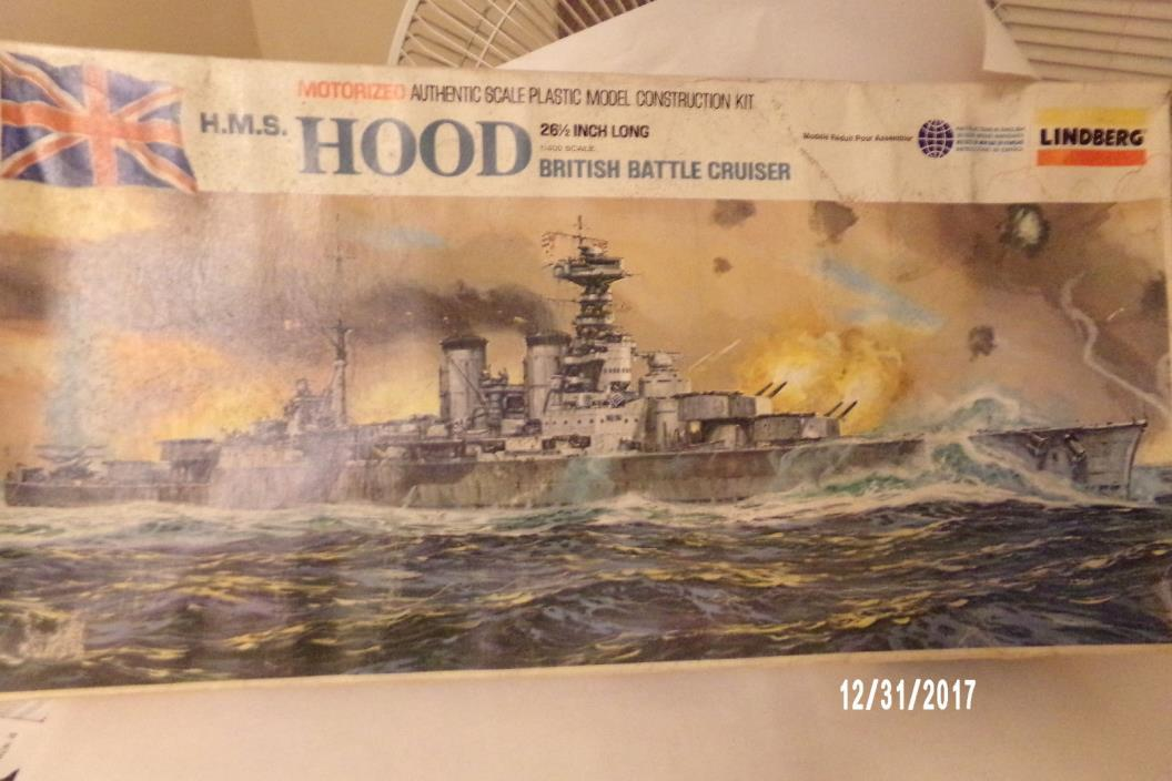 Lindberg H.M.S. Hood  1/400 British Bat Cruiser  (NO MOTOR or WIRING )