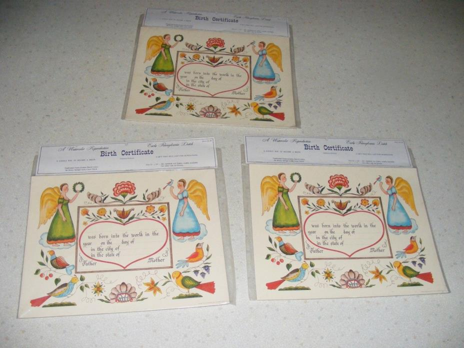 THREE NOS 1967 WATERCOLOR REPRODUCTION  BIRTH CERTIFICATE FRACTURS PARADISE PA.