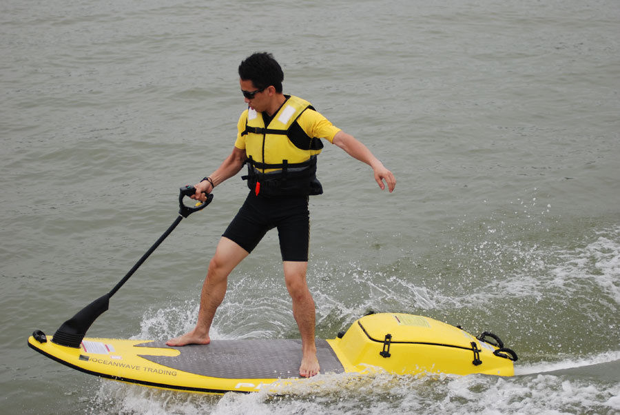 Motorized surfboard, jet-ski, water surfboard, waterboard, surfing jet, jet surf