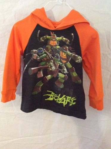 Nickolodeon Teenage Mutant Turtles Long Sleeve Hooded T-Shirt ~ 2T ~ Orange