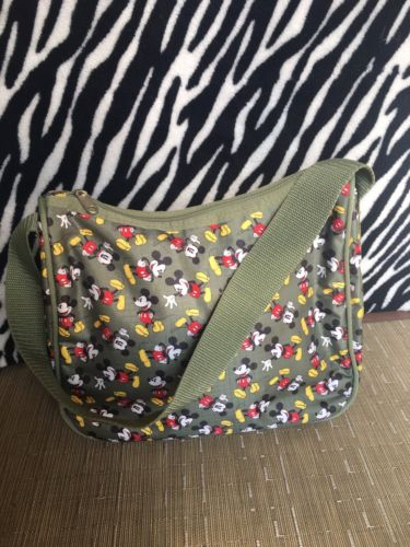 Disney Mickey Mouse Army Green Shoulder Bag Tote Disney World