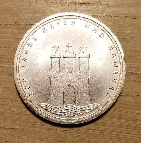1989-J Germany 10 Mark Silver 800th Year Port of Hamburg