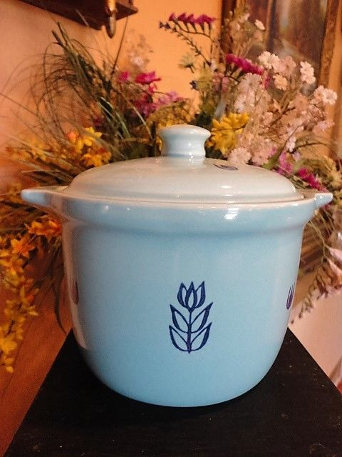 Tulip Blue by Cronin Pottery Ceramic Bake Oven Bean Pot Vintage