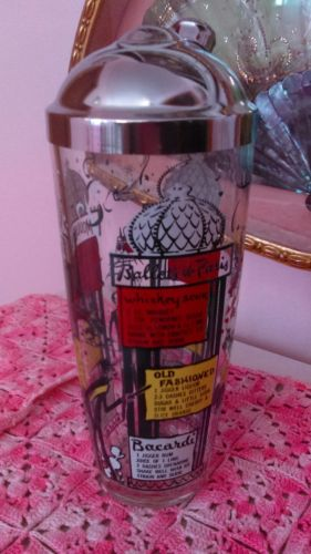 Vtg MCM Cocktail Shaker Recipe French Paris Moulin Rouge L'Opera de Paris NICE!