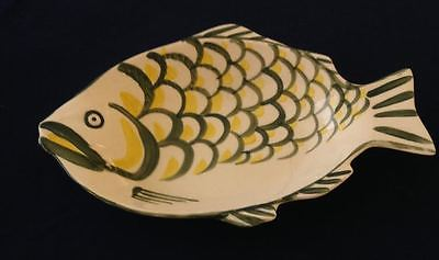 RARE VINTAGE HAND PAINTED DEEP FISH PLATTER MARKED JAPAN FIN DESIGN 13 X 9 VG
