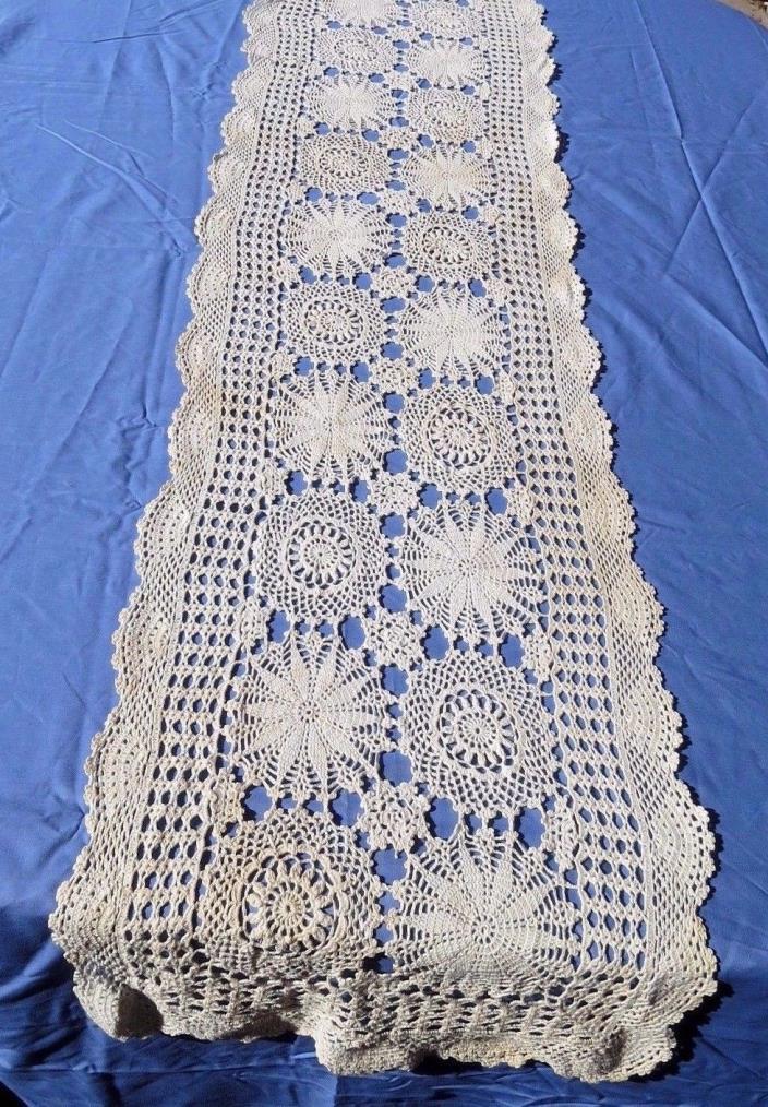 Vintage Crochet Lace Dresser Scarf Table Runner Beige Cotton 13.5x64