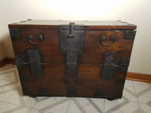 Antique Korean  Blanket Storage Chest Cabinet Wrought Iron wood, trunk