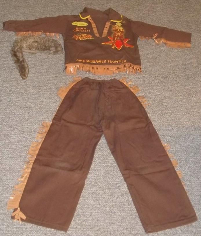 Vintage Davy Crockett Fess Parker Costume 1950s with Faux Fur Cap