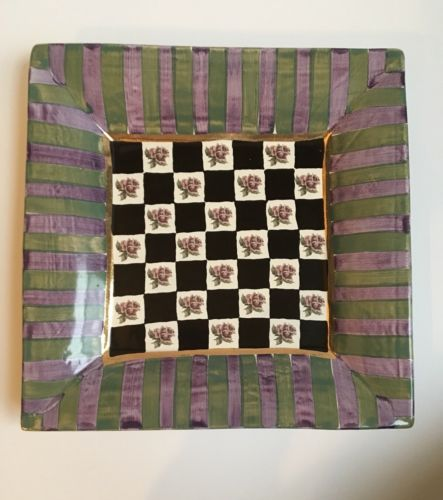 "Mackenzie Child's Torquay Kelp & Urchin RARE Large Ceramic 12"" Square Plate"