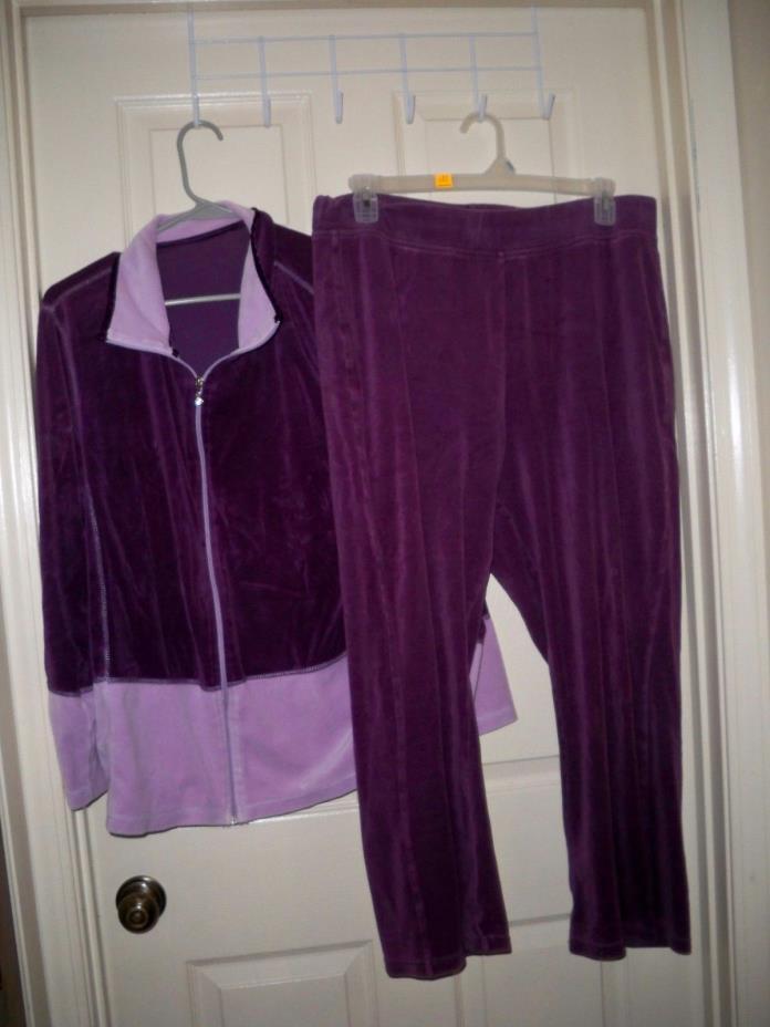 Women's 2 XL JMS 2 TONE PURPLE Stretch athletic JACKET & pants SOFT COMFO