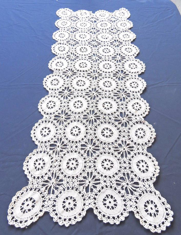 Vintage Crochet LaceTable Runner Dreser Scarf Beige 16x44
