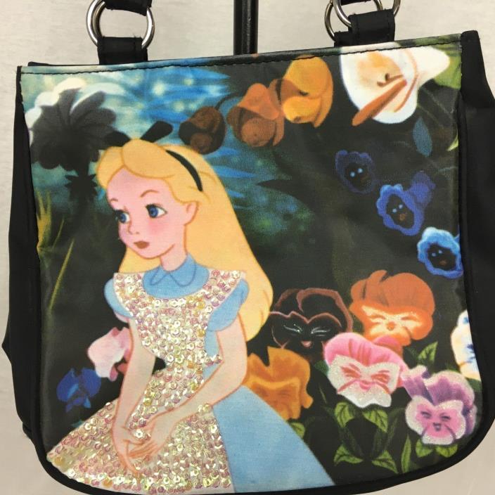 Disney ALICE IN WONDERLAND Tote Bag Purse Sequin Details Flower Garden FLAWED