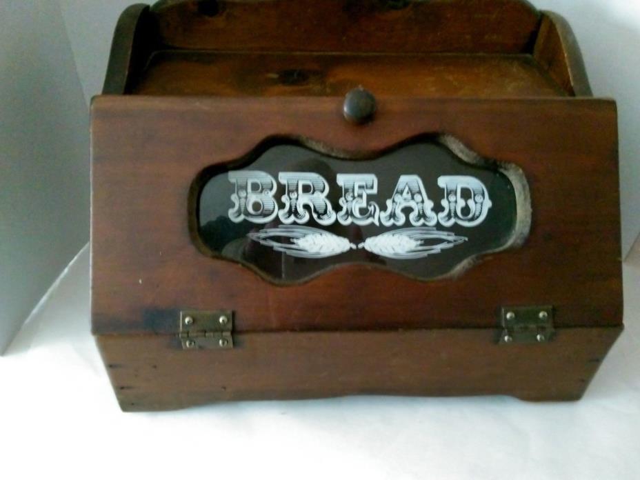 Bread Box, Wooden, glass in door, vintage