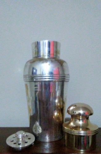 Tall Art Deco Martini Cocktail Shaker Silverplate Quality Vintage Bar Drink Mix