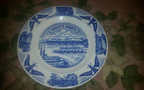 Marietta Regatta 65th Anniversary Plate Otto Bros 1951 Syracuse Stanford Navy