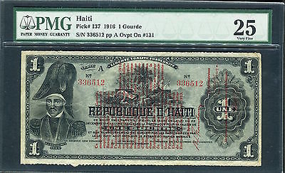 1916 Republic of Haiti 1 Gourde P-137 pp A Ovpt On #131 Banknote PMG 25 VF