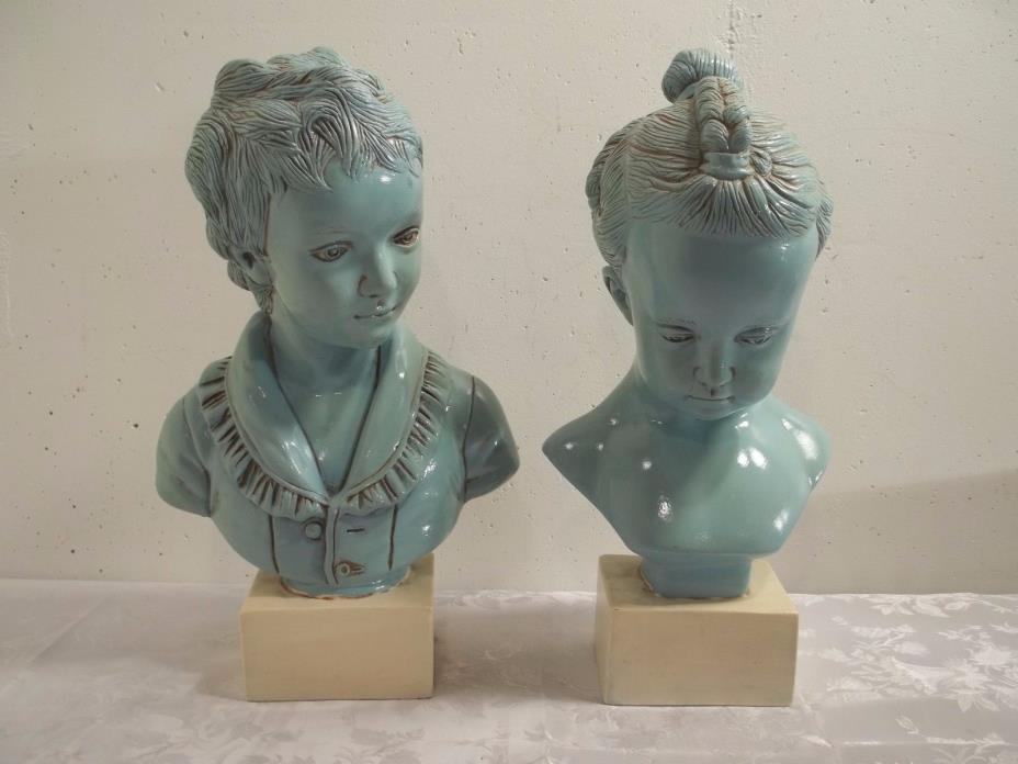 Vintage Jaru Statues Boy 193-74 Girl 194-74 Pottery Sculpture Mid Century Modern