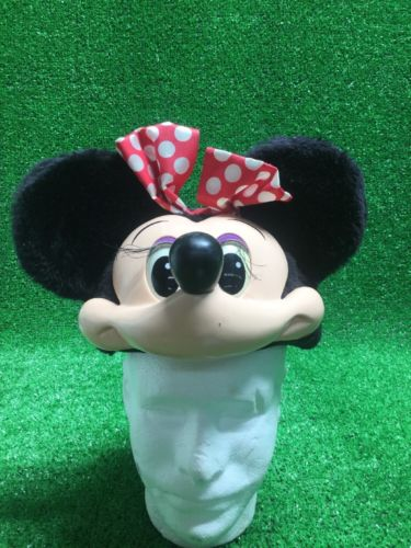 Minnie Mouse Walt Disney 3D Face Head Ears Mask Vintage Character Hat Cap